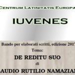 """Bando per elaborati scritti, edizione 2017 Tema: """"DE REDITU SUO di CLAUDIO RUTILIO NAMAZIANO"""" - CLE IUVENES"""